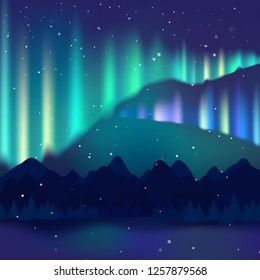 Winter night landscape, northern lights, Aurora Borealis. Arctic, Alaska, Canada, North Pole. Mountains, mountain range, high spruce, starry sky and snowfall.1