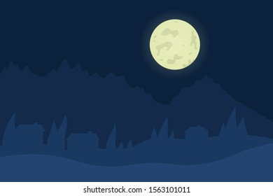 Winter night landscape. Outdoor view on the nature. Evening scene. Beautiful panorama with mountain and moon. Beauty in nature, december scenery. Vector illustration in cartoon style