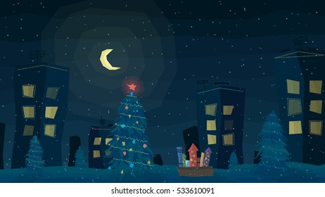 Winter night outdoor town landscape with snow. Big moon, houses with garlands, fir trees, Christmas tree and fireworks. Vector illustration in asymmetric style. Merry Christmas and Happy New Year!