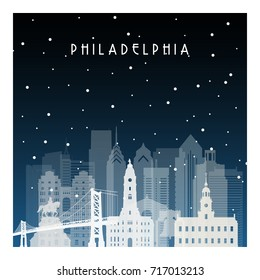 Winter night in Philadelphia. Night city in flat style for banner, poster, illustration, game, background.