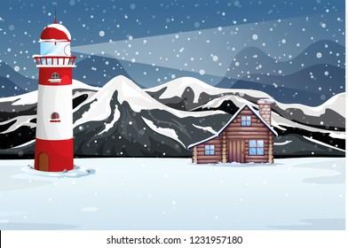 Winter night rural landscape illustration