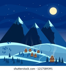 Winter night snow landscape with moon, mountains, hills, trees, cozy houses with lighted windows. Christmas and new year welcoming. Flat vector illustration.