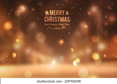 Winter night street, vector blurred background. Merry christmas and happy new year.