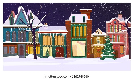 Winter night townscape with houses and decorated fir-tree. Night town scene vector illustration. Christmas Eve concept. For websites, wallpapers, posters or banners.