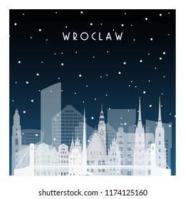 Winter night in Wroclaw. Night city in flat style for banner, poster, illustration, background.