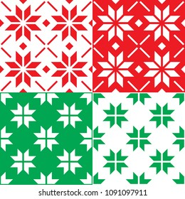 Winter Nordic snowflakes vector pattern, Christmas seamless design - set in red and green.  Scandinavian Xmas decoration, repetitive snowflake shapes four backgrounds, traditional style