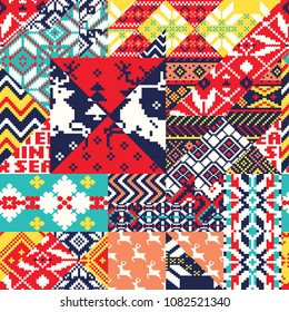 Winter Nordic style knitted jacquard fabric patchwork background, Vector abstract jacquard seamless pattern wallpaper