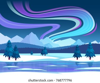 Winter and northern lights composition with snow landscape and sky flat vector illustration