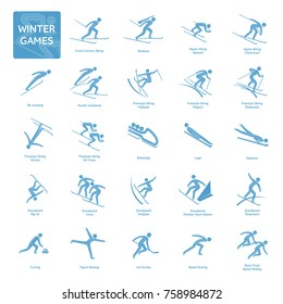 Winter olympic games competition icon. All olympic species of events in 2018. Vector   sport pictograms for web, print and other projects. Vector illustration isolated on a white background