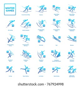 Winter Olympic games competition icon. All sport species of events in 2018. Winter sports icons set, vector pictograms for web and other projects. Vector illustration isolated on a white background