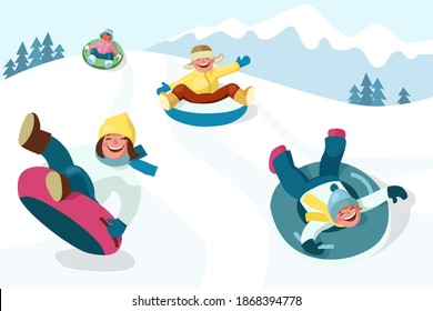 Winter outdoor activities. Cheerful boys and girls slide down the hill on snow tubing. Cartoon vector illustration