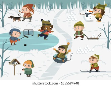 Winter outdoor activities with children and a snowman. In winter, children play snowballs, sled downhill, walk, feed birds, play hockey and skate outdoors. Vector collection.