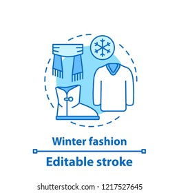 Winter outfit concept icon. Fashion collection. Warm clothes. Menswear idea thin line illustration. Vector isolated outline drawing. Editable stroke
