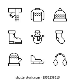 Winter Outline Vector Icon Set 1, Scarf, Sweater, Beanie, Boot, Snowman, Sock, Glove, Sled and Earmuff