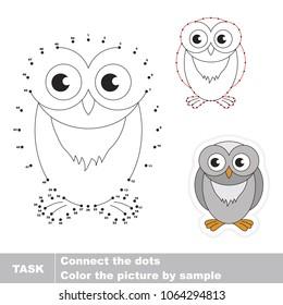 Winter owl. Dot to dot educational game for kids.
