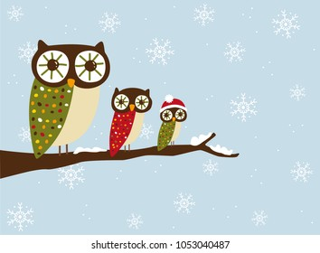Winter Owls on a branch vector