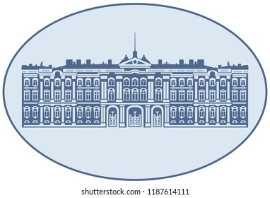 Winter Palace, The State Hermitage Museum, vector illustration from Saint Petersburg Russian landmark set
