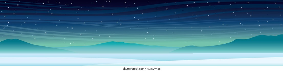 Winter panoramic landscape with snow, silhouette of mountains and night starry sky. Vector nature illustration.