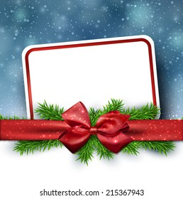 Winter paper card with crystallic snowflakes  background with red gift bow. Christmas fir tree decoration. Vector.