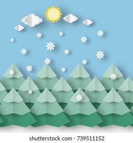 Winter paper landscape style of origami this image is a vector illustration