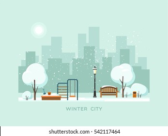 Winter park in the city with children playground. Vector illustration.