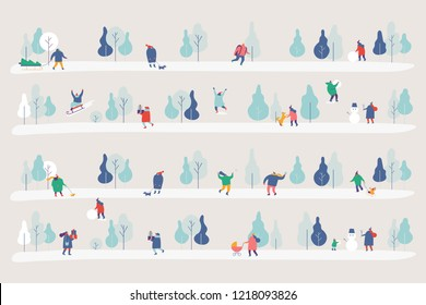 Winter Park gorizontal banner. Season background simple people characters have outdoor activities  Flat vector illustration.