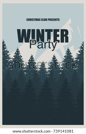 Winter Party Flyer Template Elegant Christmas Stock Vector Royalty