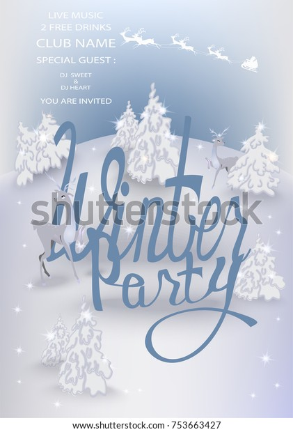 Winter Party Invitation Card Christmas Treesdeers Stock