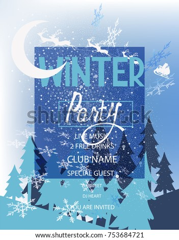 winter party invitation card forest landscape stock vector royalty