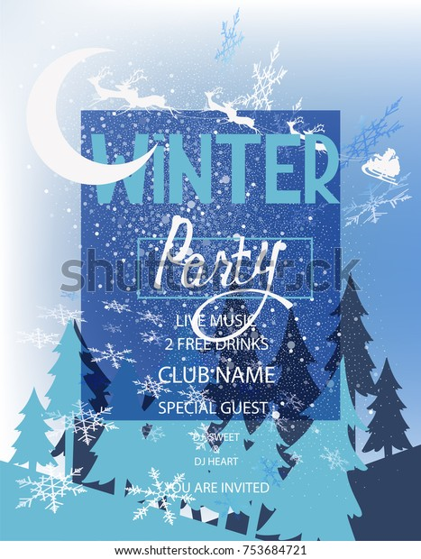 Winter Party Invitation Card Forest Landscape Stock Vector