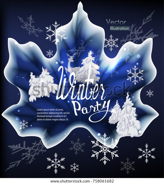 Winter Party Invitation Card Frozen Maple Stock Vector