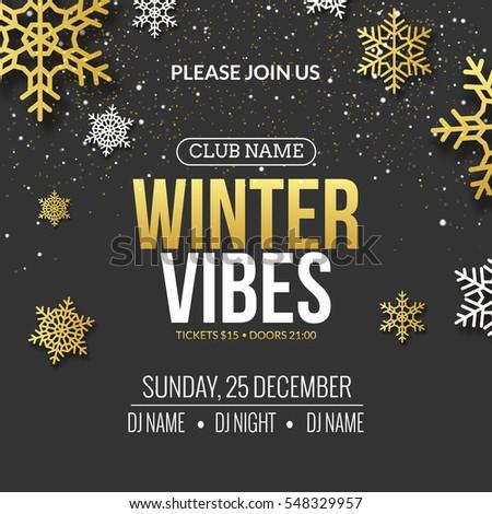 winter party invitation poster design retro stock vector royalty