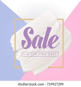 Winter pastel colors background with white vector smear in gold frame, Sale abstract banner template.