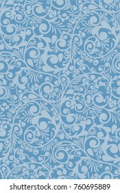 winter pattern, image on the window, blue color , seamless