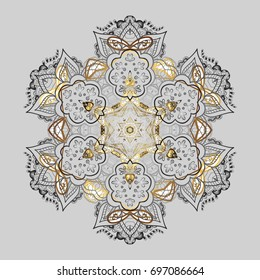 Winter pattern made of snowflake on gray background. Flat lay. Vector illustration. Winter concept.
