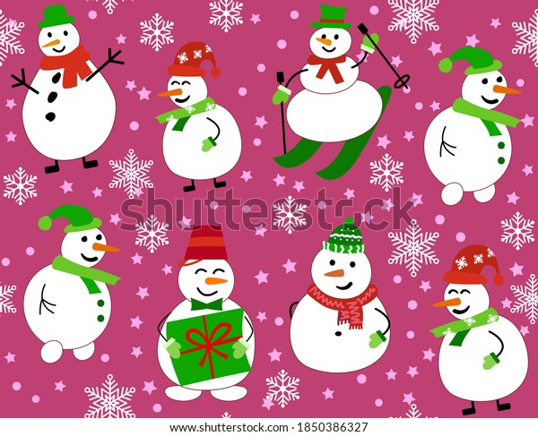 Winter pattern with snowmen and snowflakes. Snowman on skis and with gift on red background. Vector Seamless pattern. can be used for Christmas cards or wrapping paper.