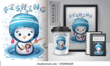 Winter penguin poster and merchandising. Vector eps 10