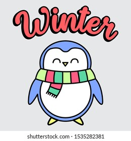 WINTER PENGUIN, SLOGAN PRINT VECTOR
