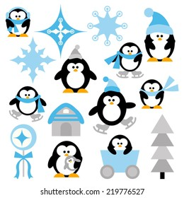 Winter penguins vector clip art in blue and black. Cute illustration.