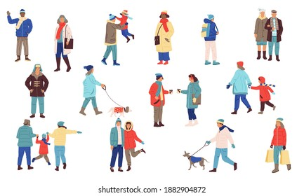 Winter people. Cartoon men and women wear casual warm clothes. Isolated young or senior persons walking with dogs and children. Outdoor friends meeting. Cold season activities, vector modern flat set