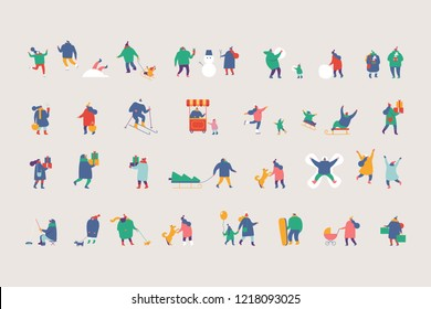 Winter people characters vector set. Winter outdoor activities. Flat vector illustration isolated on white