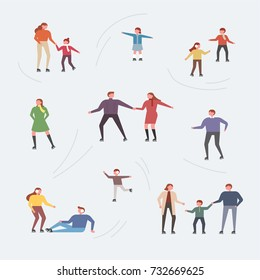 winter people playing on the snow vector illustration flat design