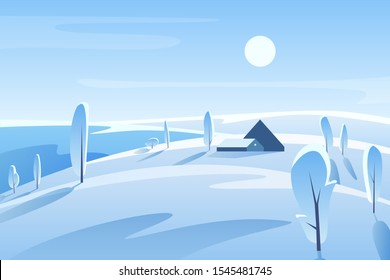 Winter picturesque landscape vector illustration. House on snowy hill in sunny day. Rural area. Countryside in wintertime. Frosty nature view with trees. Wintertime outdoor scene. Seasonal background