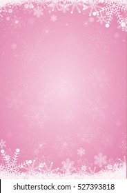 Winter pink christmas background with the snow and snowflake border