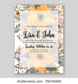 Winter poinsettia wedding invitation. Template floral for Christmas party invitation or poster.