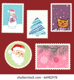 winter postage set. vector artwork