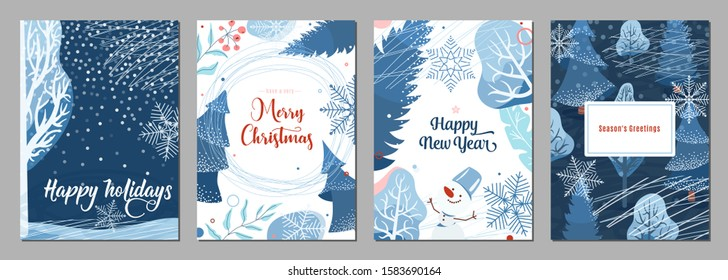 Winter poster background. Season holiday greetings set with snow, fir tree, berry, snowflakes, snowman and other graphic design elements. Creative modern flat christmas and new year celebration card.