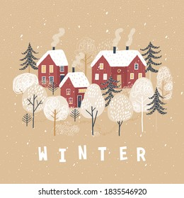 Winter poster. Lovely houses in the winter forest. Cute winter landscape.