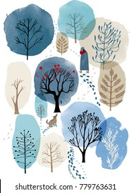 Winter poster. watercolor background with winter landscape.