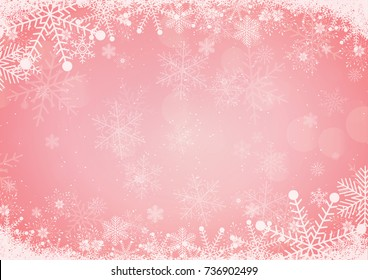 The winter red and pink gradient Christmas background snowflake and snow border